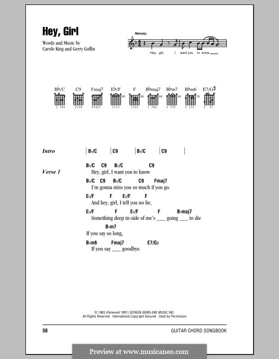 Hey, Girl: Lyrics and chords (with chord boxes) by Gerry Goffin
