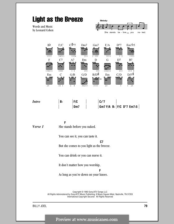 Light as the Breeze: Lyrics and chords (with chord boxes) by Leonard Cohen