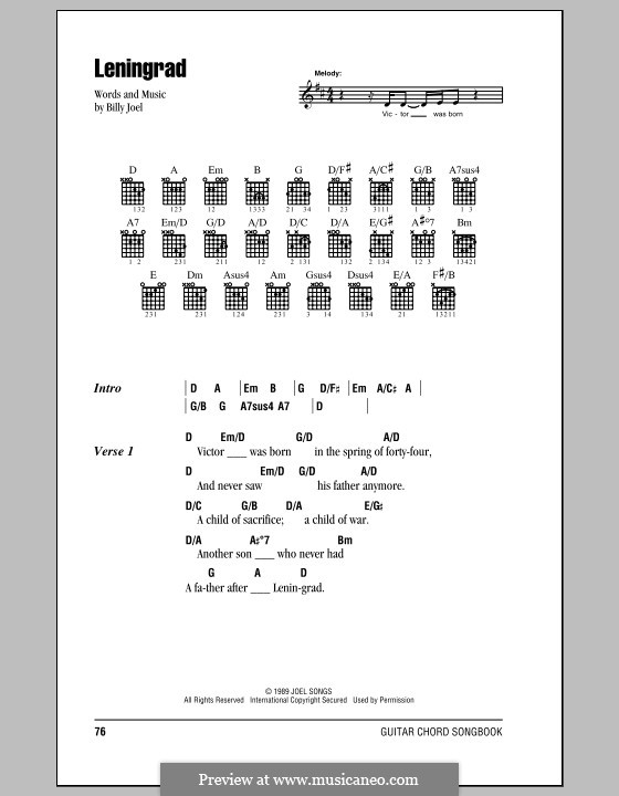 Leningrad: Lyrics and chords (with chord boxes) by Billy Joel