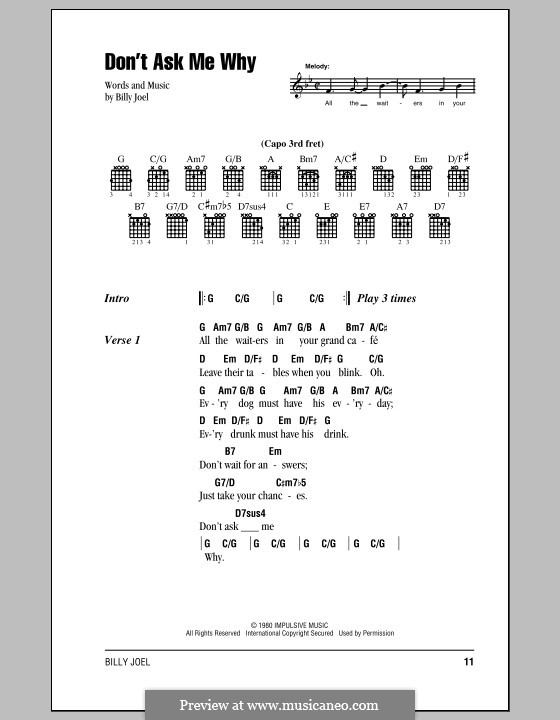Don't Ask Me Why: Lyrics and chords (with chord boxes) by Billy Joel
