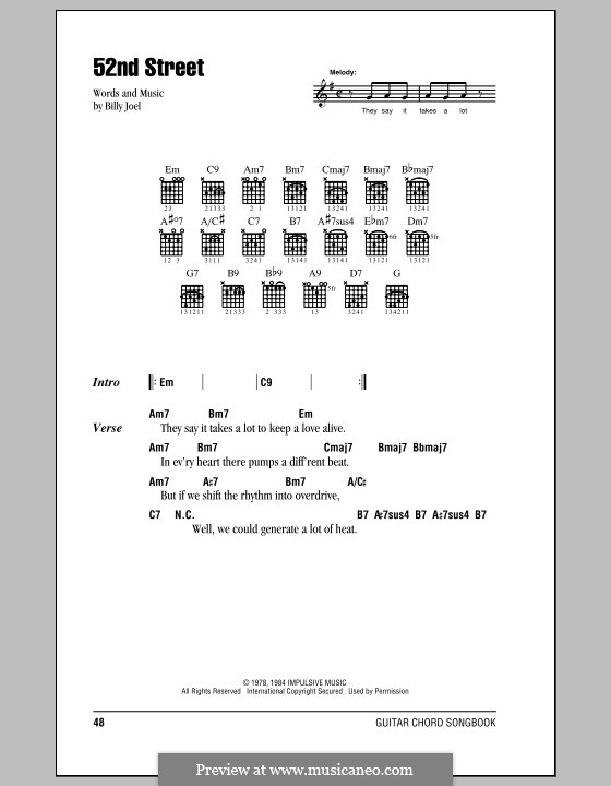 52nd Street: Lyrics and chords (with chord boxes) by Billy Joel
