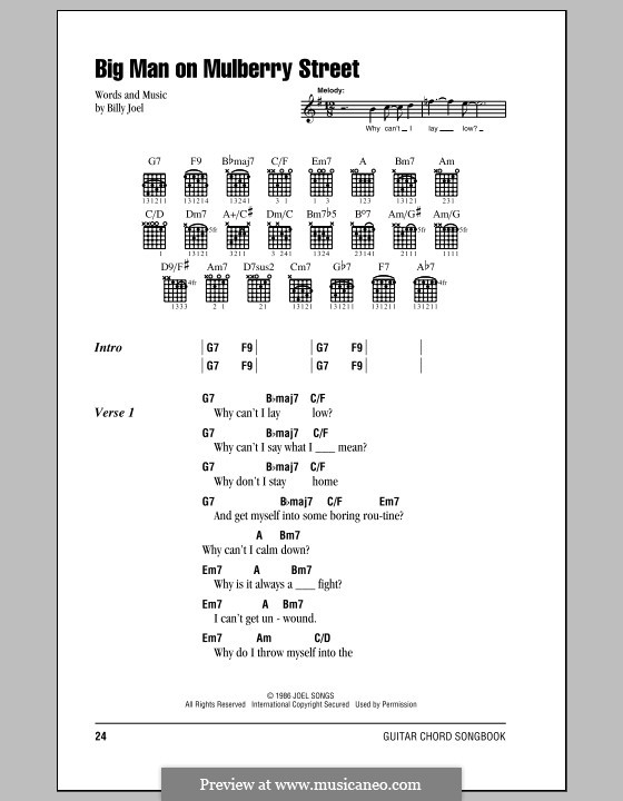 Big Man on Mulberry Street: Lyrics and chords (with chord boxes) by Billy Joel