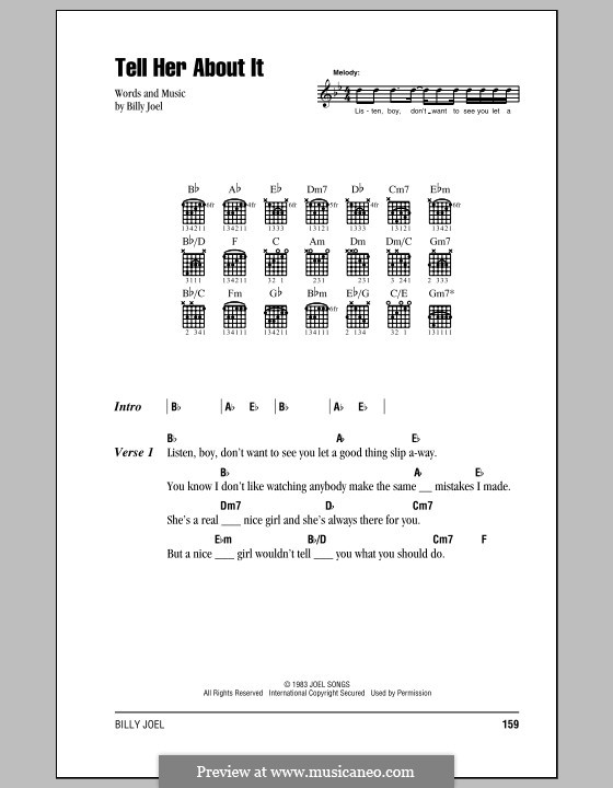 Tell Her About It: Lyrics and chords (with chord boxes) by Billy Joel