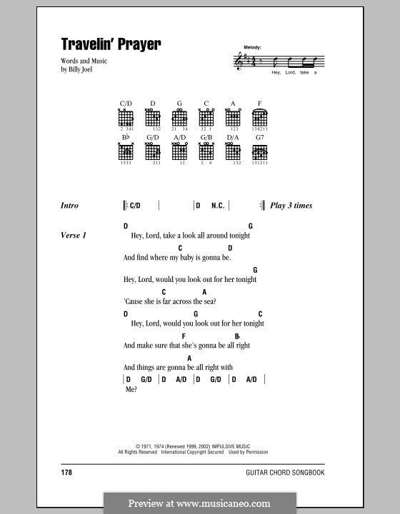 Travelin' Prayer: Lyrics and chords (with chord boxes) by Billy Joel