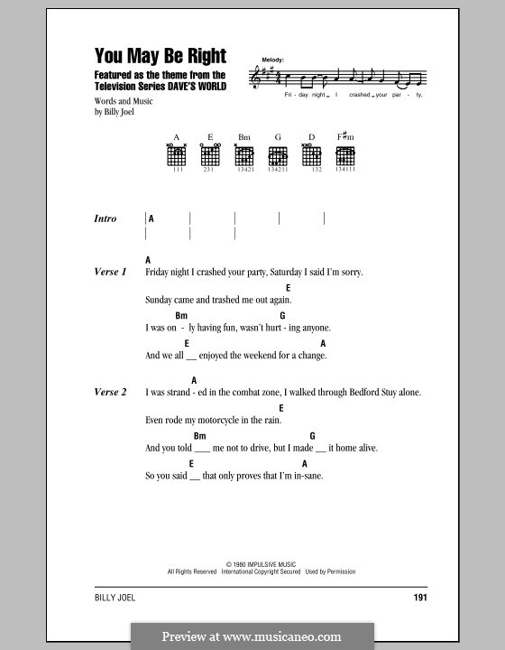 You May Be Right: Lyrics and chords (with chord boxes) by Billy Joel
