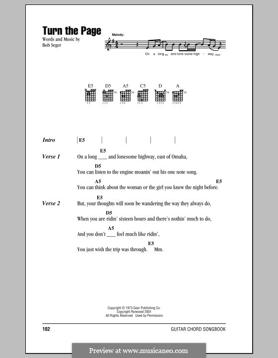 Turn the Page: Lyrics and chords (with chord boxes) by Bob Seger