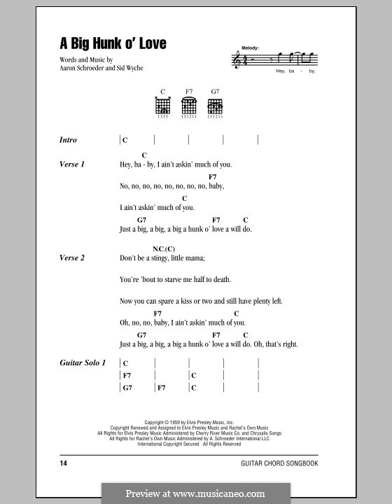 A Big Hunk O' Love (Elvis Presley): Lyrics and chords (with chord boxes) by Aaron Schroeder, Sid Wyche