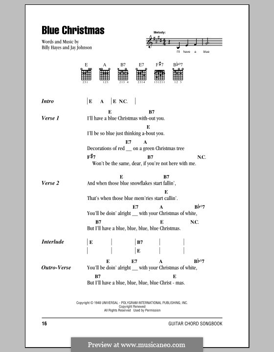 Blue Christmas: Lyrics and chords (with chord boxes) by Billy Hayes, Jay Johnson