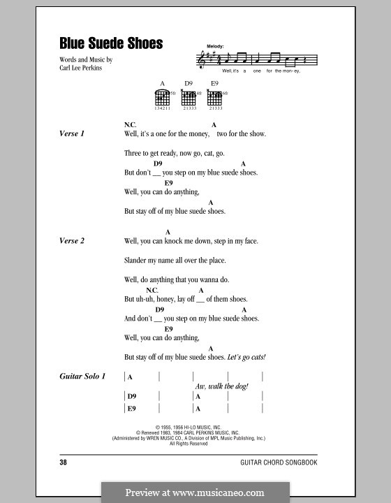 Blue Suede Shoes (Elvis Presley) by C.L. Perkins - sheet music on ...