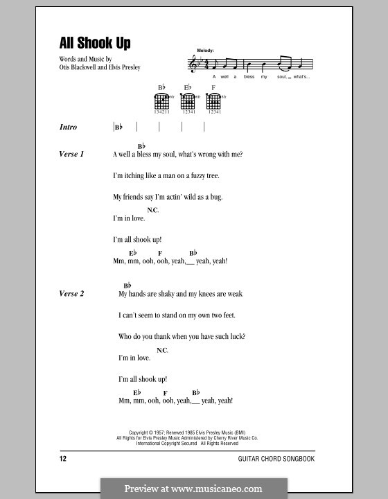 All Shook Up: Lyrics and chords (with chord boxes) by Elvis Presley, Otis Blackwell