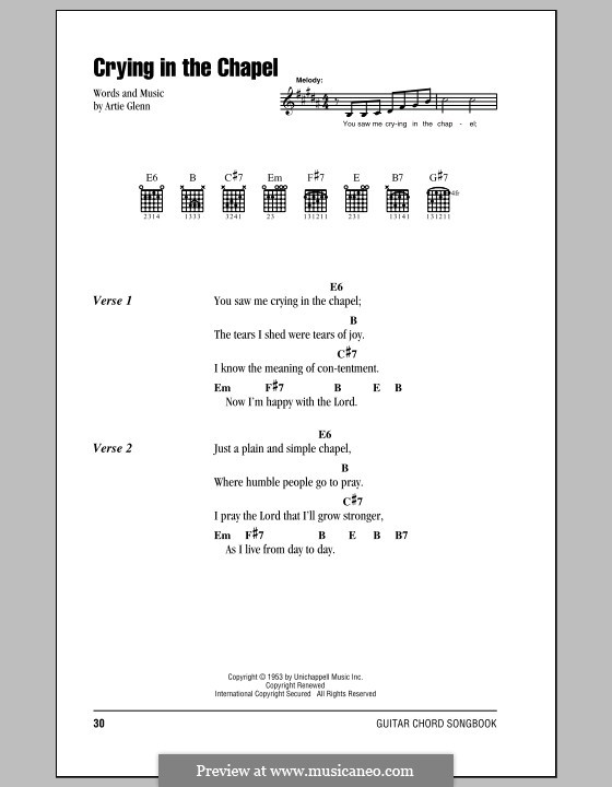 Crying in the Chapel (Elvis Presley): Lyrics and chords (with chord boxes) by Artie Glenn