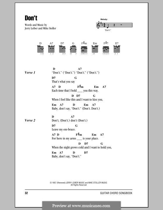 Dont Elvis Presley By J Leiber M Stoller Sheet Music On