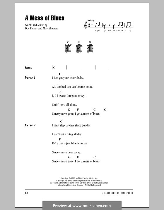 A Mess of Blues (Elvis Presley): Lyrics and chords (with chord boxes) by Doc Pomus, Mort Shuman