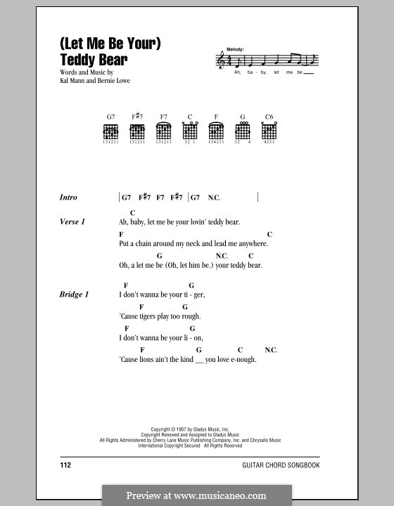 (Let Me Be Your) Teddy Bear (Elvis Presley): Lyrics and chords (with chord boxes) by Bernie Lowe, Kal Mann