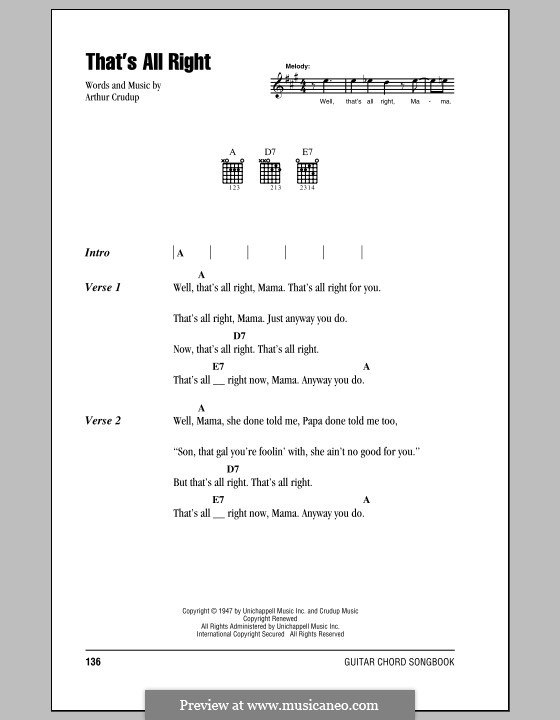 That\'s All Right (Elvis Presley) by A. Crudup - sheet music on MusicaNeo