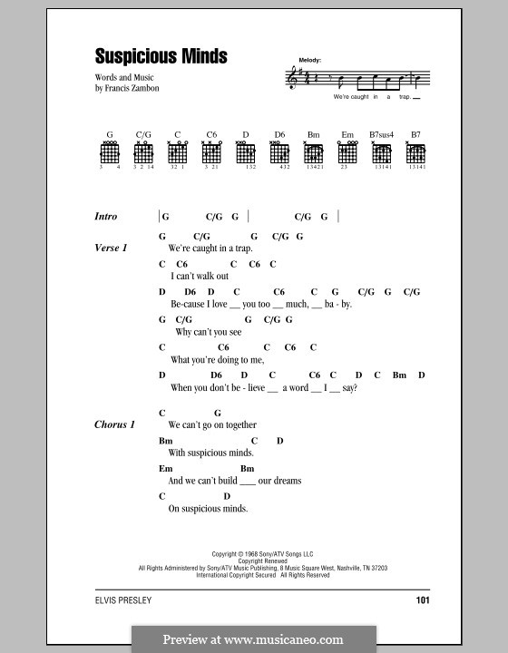 Suspicious Minds (Elvis Presley): Lyrics and chords (with chord boxes) by Francis Zambon