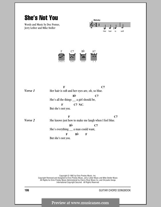 She's Not You (Elvis Presley): Lyrics and chords (with chord boxes) by Doc Pomus, Jerry Leiber, Mike Stoller