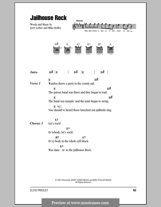 Jailhouse Rock (Elvis Presley): Lyrics and chords (with chord boxes) by Jerry Leiber, Mike Stoller