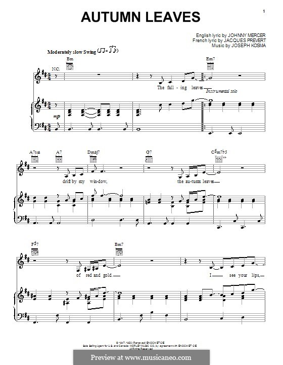 Autumn Leaves: For voice and piano or guitar (B Minor) by Joseph Kosma