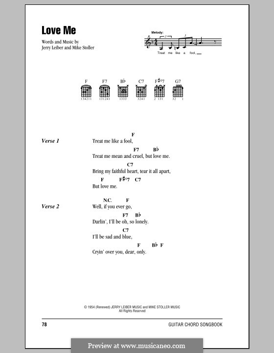 Love Me (Elvis Presley): Lyrics and chords by Jerry Leiber, Mike Stoller