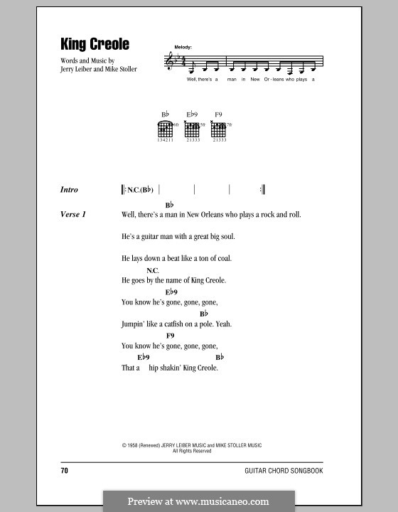 King Creole (Elvis Presley): Lyrics and chords (with chord boxes) by Jerry Leiber, Mike Stoller