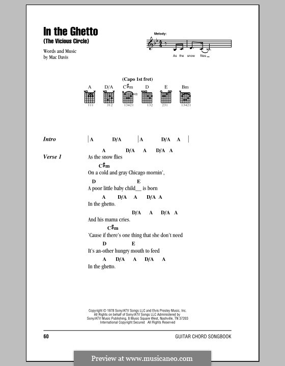 In the Ghetto: Lyrics and chords with chord boxes (Elvis Presley) by Mac Davis