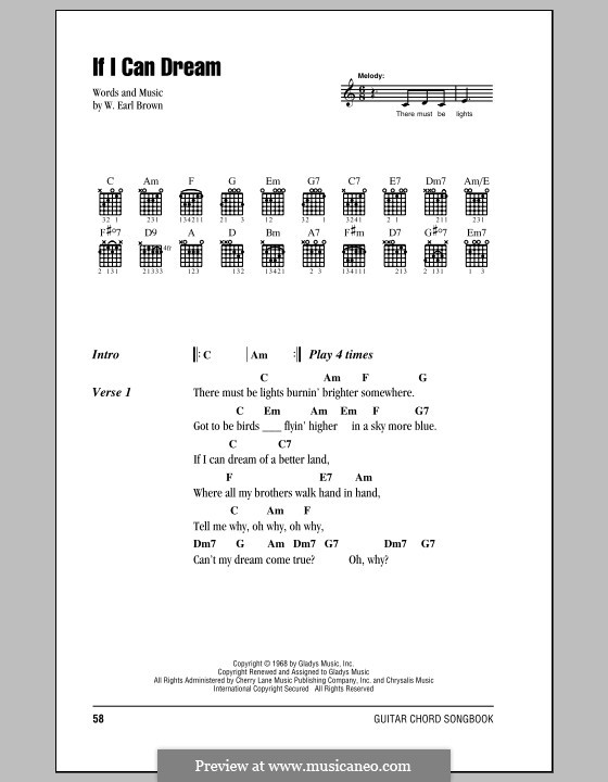 If I Can Dream Elvis Presley By We Brown Sheet Music On Musicaneo
