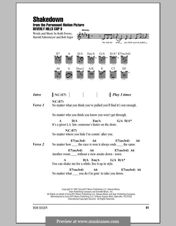 Shakedown (from Beverly Hills Cop II): Lyrics and chords (with chord boxes) by Harold Faltermeyer, Keith Forsey