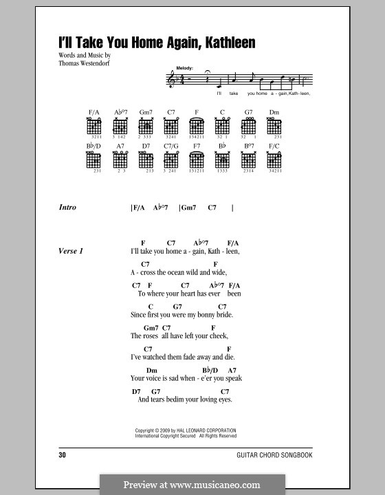 I'll Take You Home Again, Kathleen: Lyrics and chords (with chord boxes) by Thomas Payne Westendorf