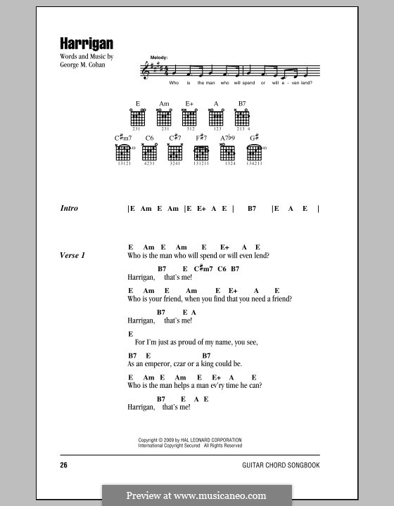 Harrigan: Lyrics and chords (with chord boxes) by George Michael Cohan
