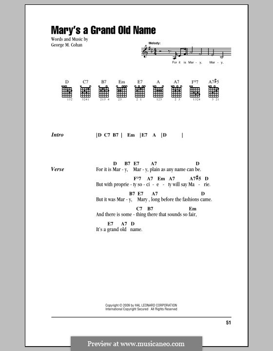 Mary's a Grand Old Name: Lyrics and chords (with chord boxes) by George Michael Cohan