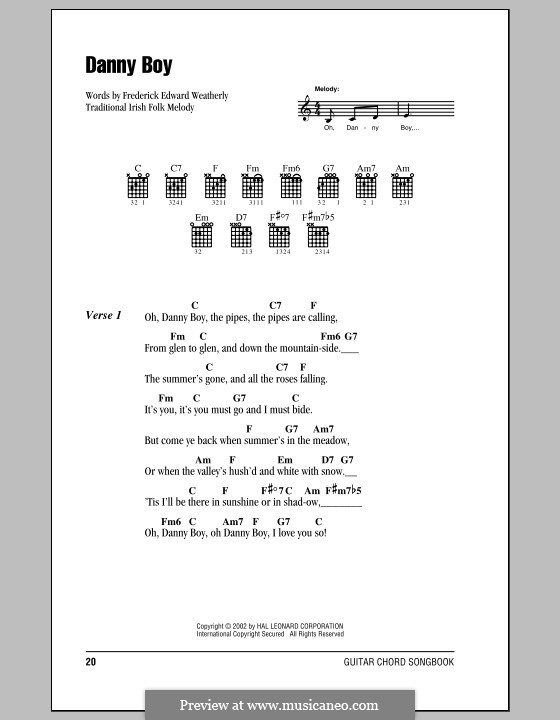 Danny Boy (Printable Scores): Lyrics and chords (with chord boxes) by folklore