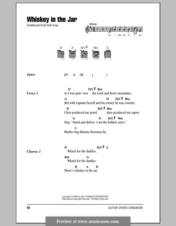 Whiskey in the Jar: Lyrics and chords (with chord boxes) by folklore