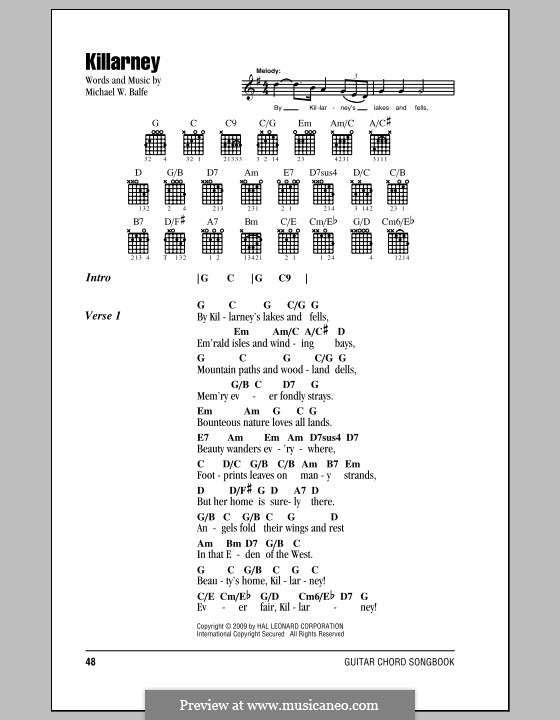 Killarney: Lyrics and chords (with chord boxes) by Michael William Balfe