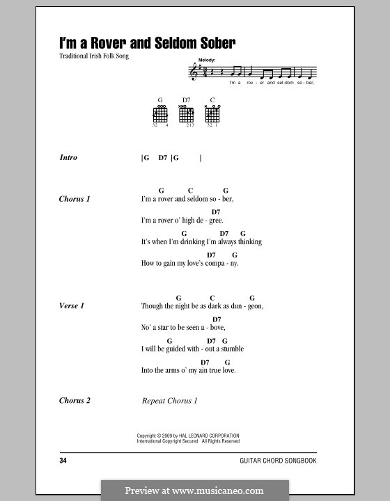I'm a Rover and Seldom Sober: Lyrics and chords (with chord boxes) by folklore