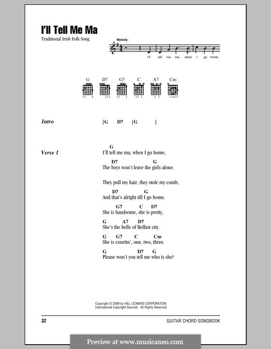 I'll Tell My Ma (The belle of Belfast City): Lyrics and chords (with chord boxes) by folklore