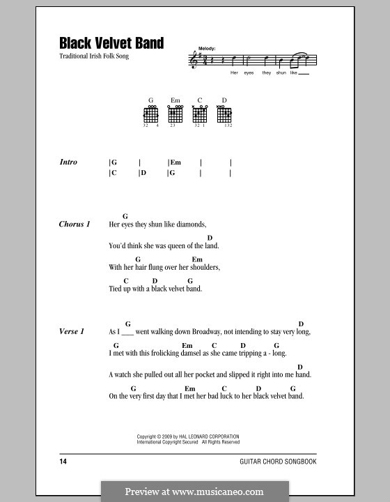 The Black Velvet Band By Folklore Sheet Music On Musicaneo