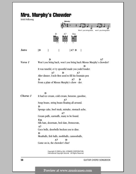 Mrs. Murphy's Chowder: Lyrics and chords (with chord boxes) by folklore