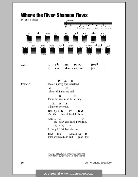 Where the River Shannon Flows: Lyrics and chords (with chord boxes) by James Russell