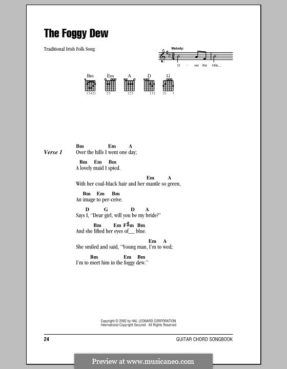 The Foggy Dew: Lyrics and chords (with chord boxes) by folklore