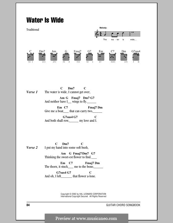 The Water is Wide: Lyrics and chords (with chord boxes) by folklore