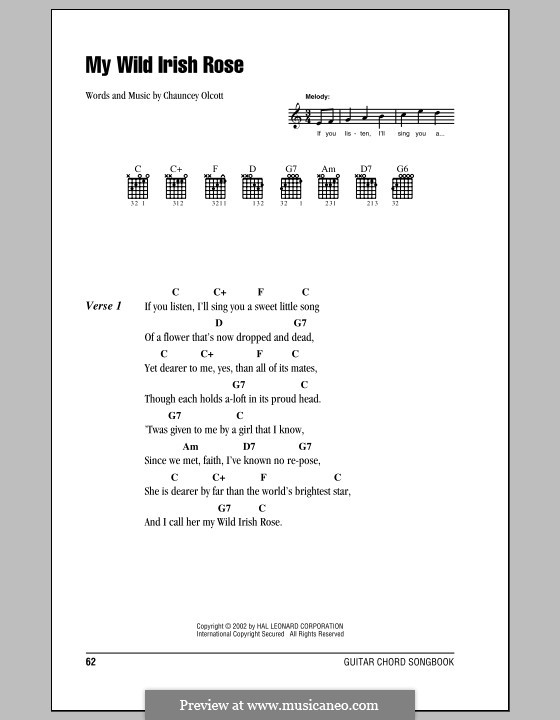 My Wild Irish Rose: Lyrics and chords by Chauncey Olcott