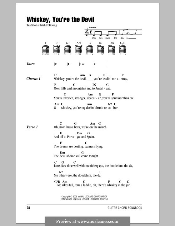 Whiskey, You're the Devil: Lyrics and chords (with chord boxes) by folklore