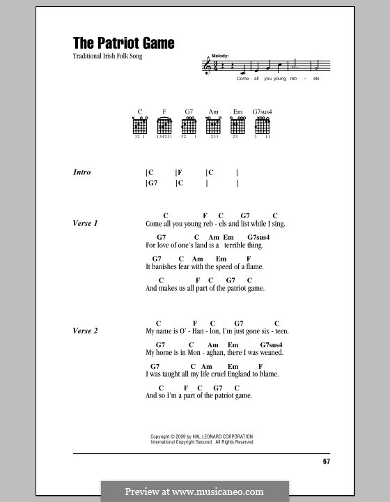 The Patriot Game: Lyrics and chords (with chord boxes) by folklore
