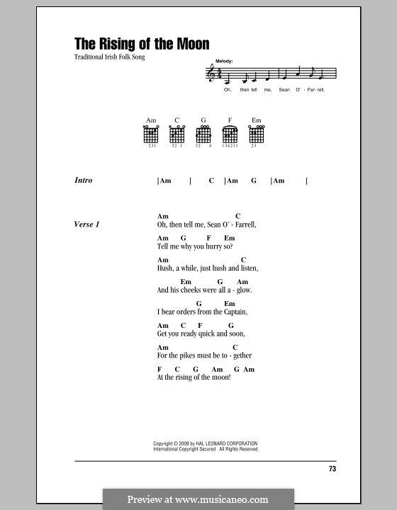 The Rising of the Moon: Lyrics and chords (with chord boxes) by folklore