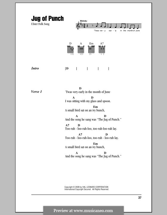 Jug of Punch: Lyrics and chords (with chord boxes) by folklore