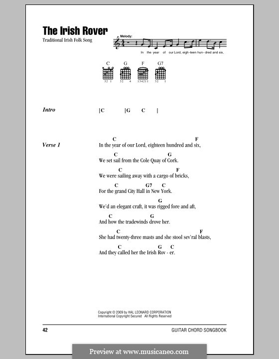 The Irish Rover by folklore - sheet music on MusicaNeo