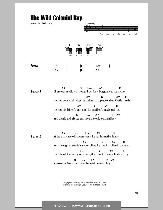 The Wild Colonial Boy: Lyrics and chords (with chord boxes) by folklore