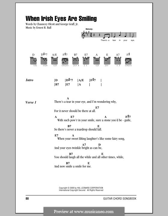 When Irish Eyes Are Smiling: Lyrics and chords (with chord boxes) by Ernest R. Ball