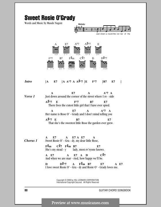 Sweet Rosie O'Grady: Lyrics and chords (with chord boxes) by Maude Nugent